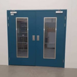 Double leaf hinged door with glass panels
